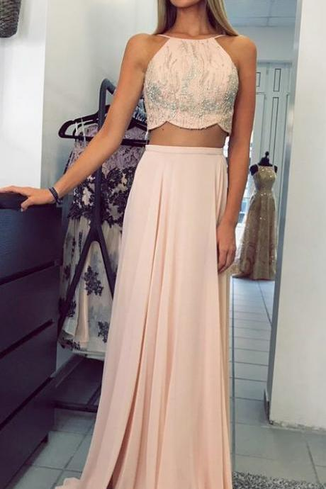Chiffon Prom Dresses ,2 Piece Long Prom Dress,BW93177