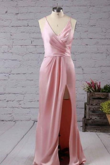 Pink V Neck Sleeveless Side Slit Prom Dresses,Long Evening Dresses,BW93178