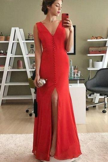 Mermaid V-Neck Split Front Floor-Length Red Chiffon Prom Dres,BW93179
