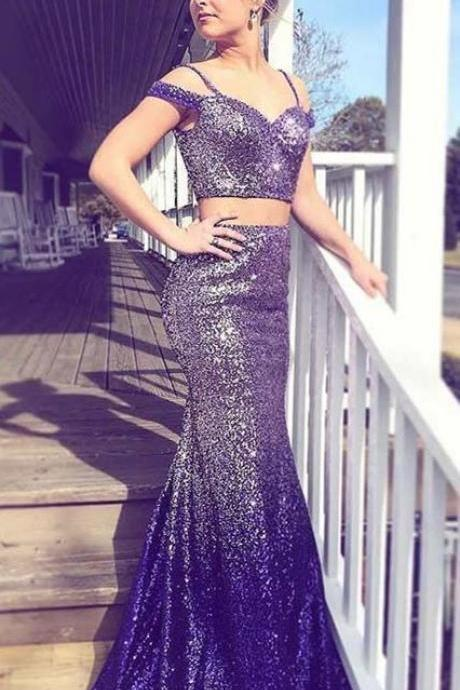 Two Piece Spaghetti Straps Long Ombre Purple Sequined Prom Dress,BW93182