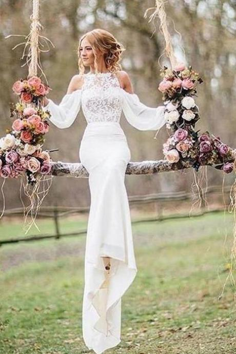 Affordable Unique Design Lace Top Long Sleeves Mermaid Long Wedding Dress,BW93202