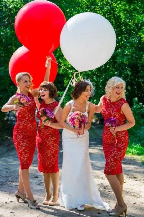 Red Bridesmaid Dresses, Lace Bridesmaid Dresses,BW93223