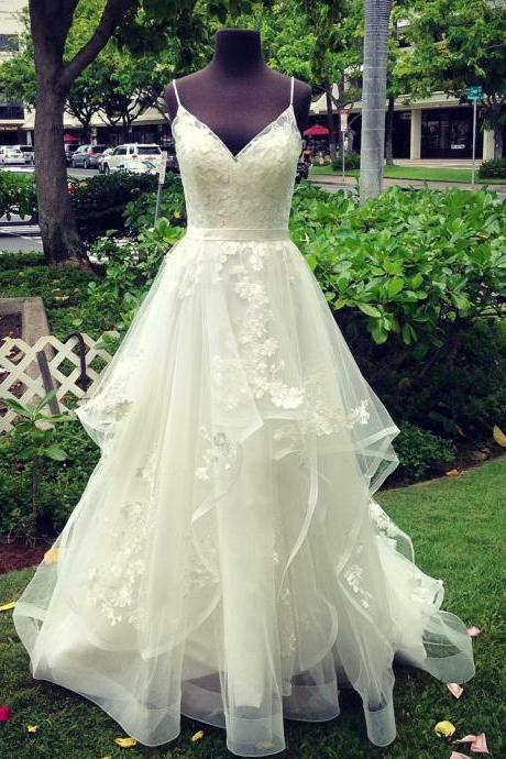 A-Line Spaghetti Straps Sweep Train Wedding Dress with Appliques,BW93232