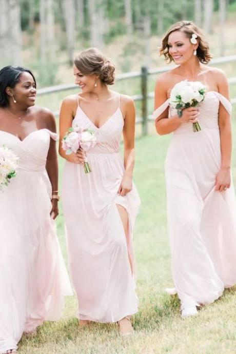 Off-the-Shoulder Chiffon Bridesmaid Dresses,BW93287