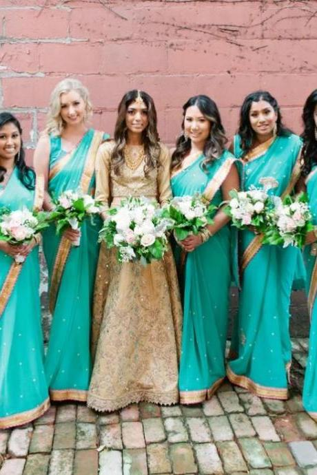 Turquoise Bridesmaid Dresses,Long Bridesmaid Dress,BW93296