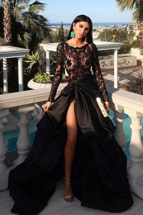 A-line Scoop Long Sleeves Split Ruched Black Sweep Train Lace Prom Evening Dress,BW93306