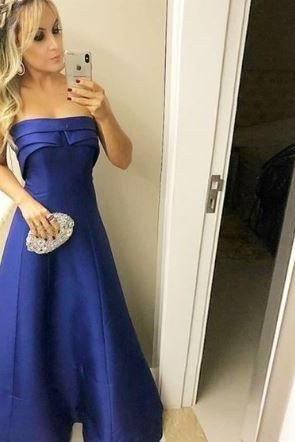 A-Line Strapless Sleeveless Royal Blue Long Prom Dress with Ruffles,BW93318