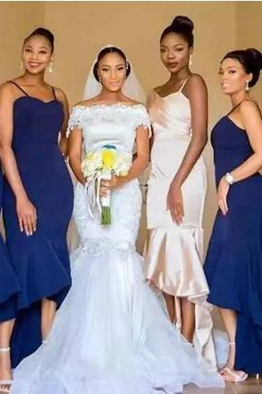 Country Navy Blue Simple Mermaid Bridesmaid Dresses Spaghetti Straps Hi-Lo Ruffled Beach Wedding Maid of Honor Prom Evening Party Gowns,BW93566