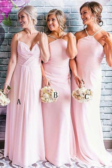 Elegant Spaghetti Straps Pink Chiffon Bridesmaid Dress,BW93574