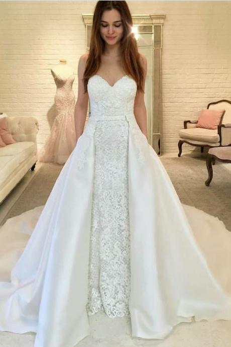 Sweetheart Detachable Mermaid Wedding Dress with Lace, BW93666