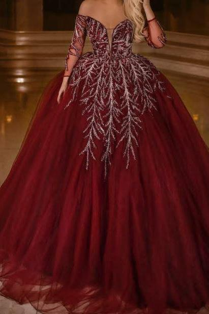 Off the Shoulder Red Ball Gown Quinceanera Dress, BW93715