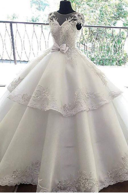 White Wedding Dresses, Lace Wedding Gowns, Princess Bridal Dress, BW93730