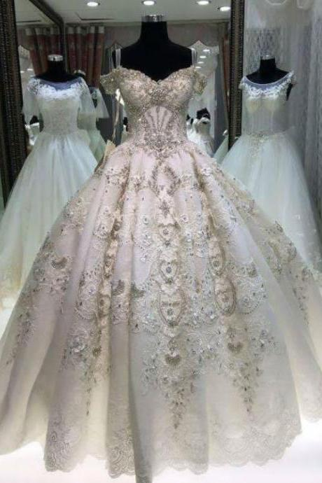 White Wedding Dresses,Beading Wedding Gowns, Princess Bridal Dress, BW93734
