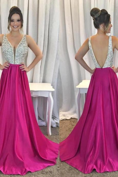Bling Beaded Long Prom Dress Sexy Deep V Neck Open Back Sequined Sweep Train Formal Evening Dresses , BW93745