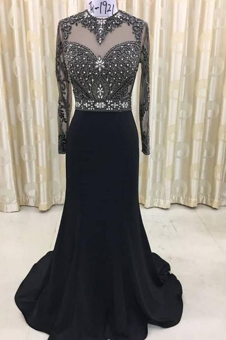 Scoop Neck Long Sleeves Beading Evening Dress, BW93836