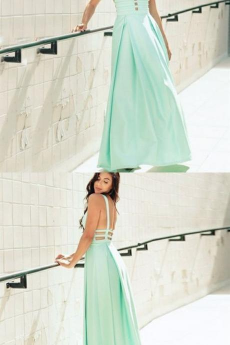 Simple Charming A-Line Deep V-Neck Backless Mint Long Prom Dress, BW93909