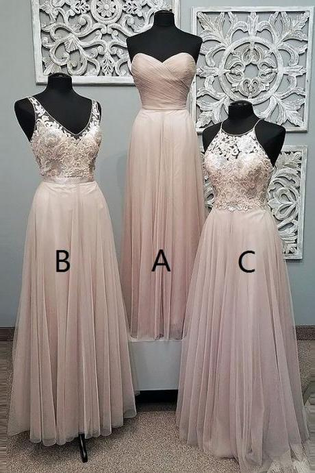 Sweetheart Floor-Length Pearl Pink Tulle Prom Dress, BW93940