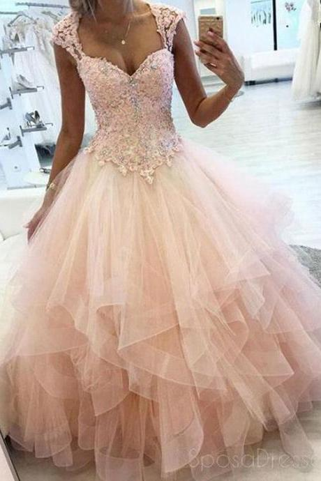 Cap Sleeves Peach Ball Gown Lace Beaded Long Evening Prom Dresses, Cheap Sweet 16 Dresses, BW94110
