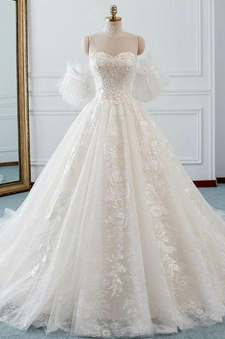 Ivory Ball Gown Tulle Sweetheart Neck Appliques Wedding Dress, BW94141