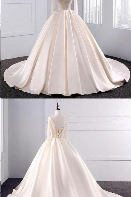 Ball Gown Wedding Dresses Long Train Beading V-neck Sexy Big Colored Bridal Gown, BW94144