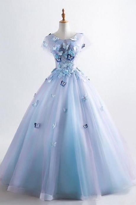 Princess Blue Quinceanera Dress 3D Butterfly Floral Applique Prom Ball Gown, BW94150