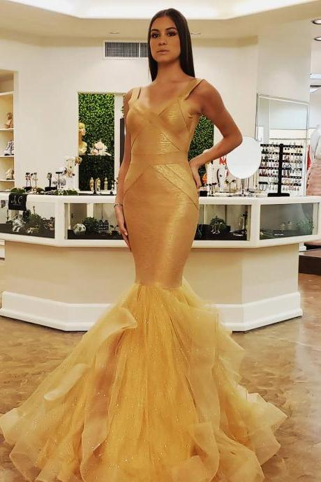 Gold Bandage Mermaid Long Prom Dresses, Evening Dress, BW94167