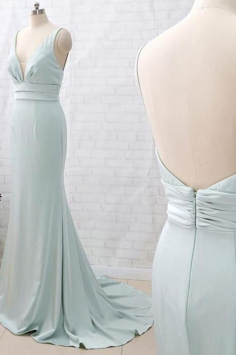 Mermaid Straps V Neck Crepe Pastel Green Formal Evening Gown Bridesmaid Dress, BW94203