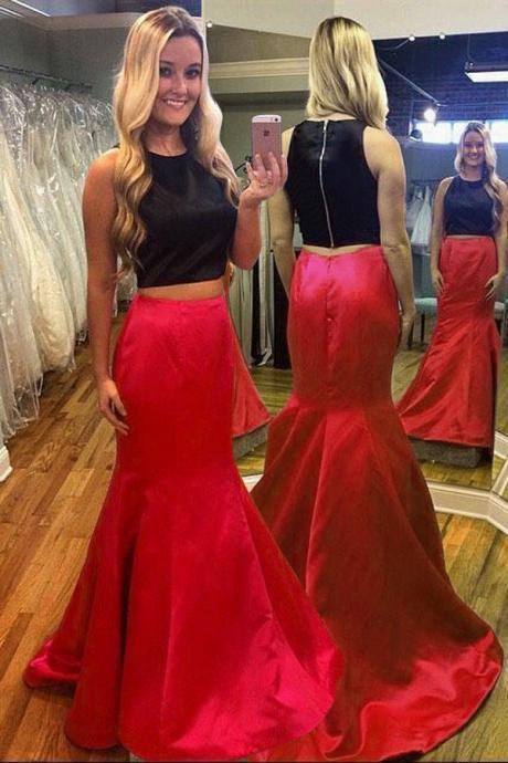 Charming Two Pieces Mermaid Scoop Sleeveless Sweep Train Red Prom Party Dresss, BW94204