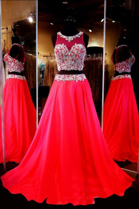 Generous Two-Piece Scoop Sleeveless Red Chiffon Sweep Train Prom Dress with Beading, BW94205