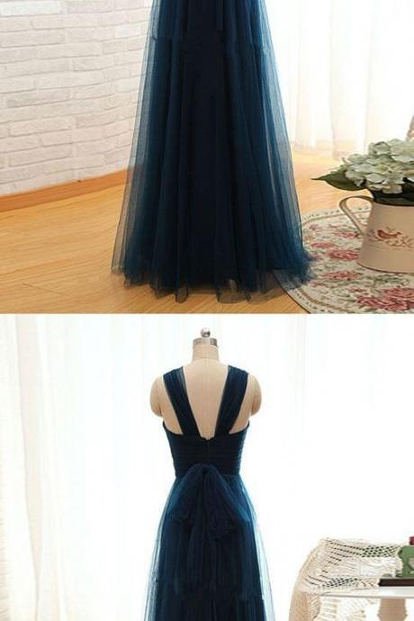 Simple A Line Straps Pleated Long Women Dark Green Tulle Prom/Bridesmaid Dresses, BW94221