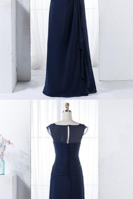Elegant dark blue ruched bridesmaid dress with beading, bodycon a-line dark blue wedding party dress with keyhole, BW94229