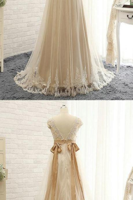 Champagne Bridesmaid Dresses Lace, Yellow Bridesmaid Dresses Long, Empire Bridesmaid Dresses V-neck, BW94231