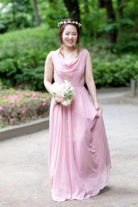 Custom-made Bridesmaid Dress Cowl Neck Chiffon Long Dress, BW94236