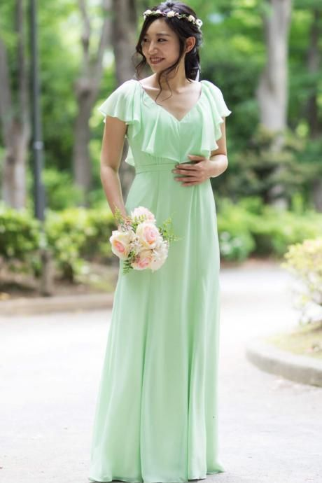 V-Neck Ruffle Chiffon A-line Floor-Length Bridesmaid Dress, BW94237