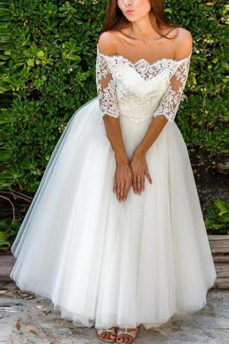 Brilliant Tulle Off-the-shoulder Neckline Floor-length A-line Wedding Dresses, BW9450