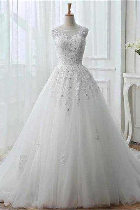 Custom Detachable Long Sleeves Tull Wedding Gown With Applique, BW9451