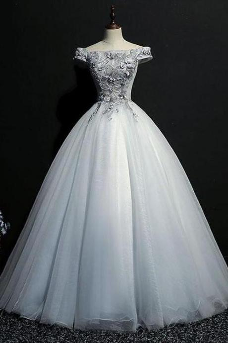 Beautiful Tulle Off Shoulder Grey Formal Gowns, Grey Party Dress, BW9452