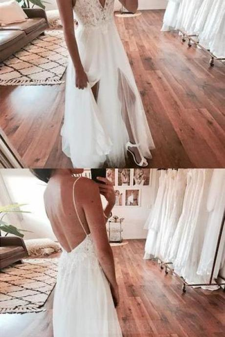Spaghetti Strap V Neck Open Back Side Split Long Tulle Wedding Dresses Bride Gowns, BW9463