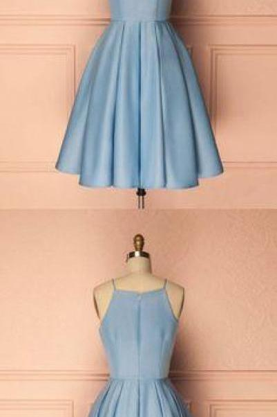 cute short blue prom dress, cute homecoming dress, blue bridesmaid dress, BW9465
