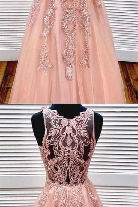 Unique pink round neck tulle lace long prom dress, pink tulle prom dress, BW9485