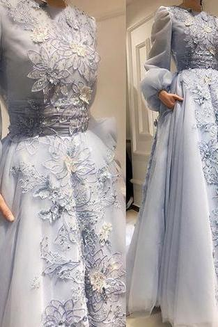 Stunning Custom Made Long Puff Sleeves Evening Prom Dresses, Sweet Dresses, 3D Flowers Applique Formal Dress, BW9486