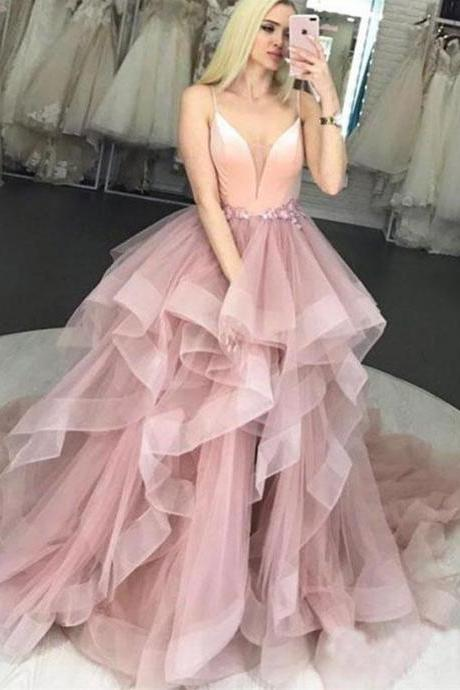 Pink v neck tulle long prom dress, sweet 16 dress, BW9519
