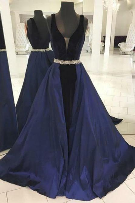 Elegant V-neck Navy Blue Backless Prom Dress with Detachable Train, BW9583