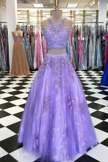 Exquisite Scoop Two Pieces Lavender Lace Prom Dress with Appliques Beading, BW9628
