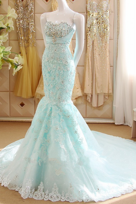 Ice Blue Lace Appliquéd and Beaded Embellished Floor Length Mermaid Prom Gown Featuring Sweetheart Bodice and Chapel Train, BW9676