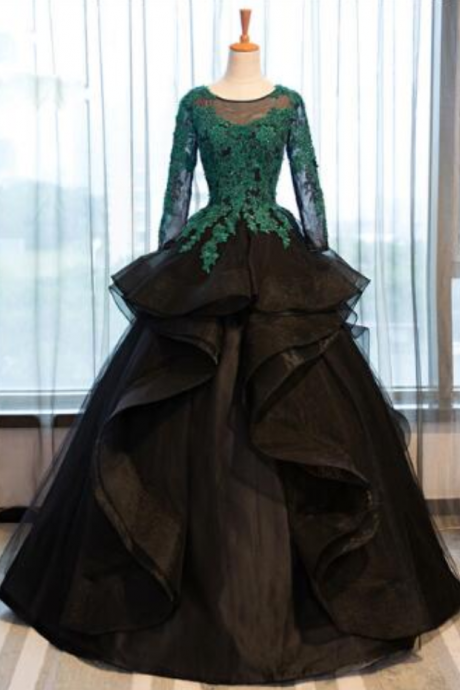 Black Long Sleeve Prom Dresses Costume Applique Lace Sheer Tulle Evening Dress Banquet Ball Gowns Formal Gown, BW9681