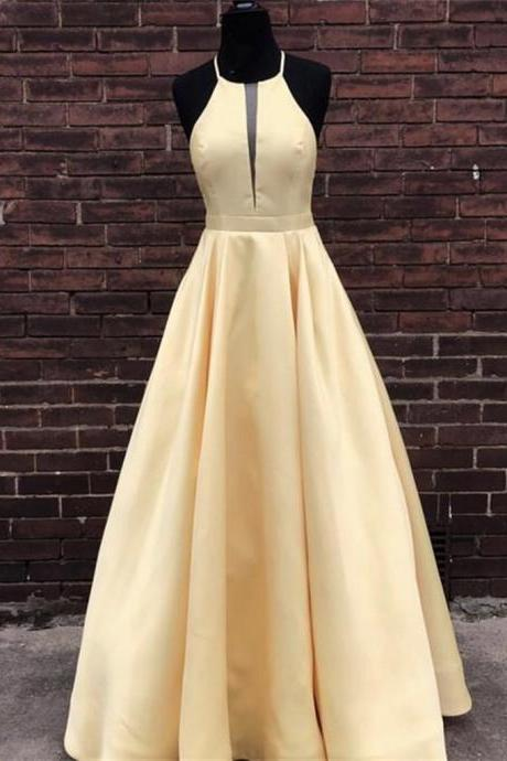 Simple Halter Yellow Satin Long Prom Dresses 2019, Yellow Formal Dresses Long Evening Dresses, BW9697