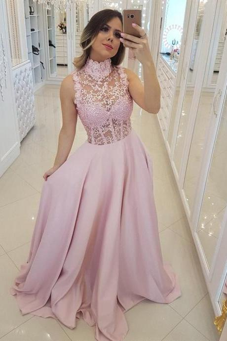 Pink High Neck Lace Beaing Satin Long Prom Dresses 2019, Lace Pink Formal Dresses, Elegant Evening Dresses, BW9698