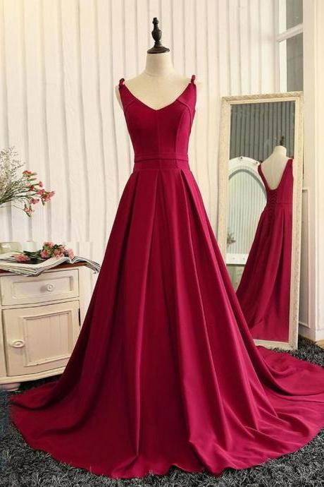 Burgundy A Line V Neck Sweep Train Open Back Satin Long Prom Dress, V Neck Burgundy Formal Dress, Backless Evening Dress, BW9702