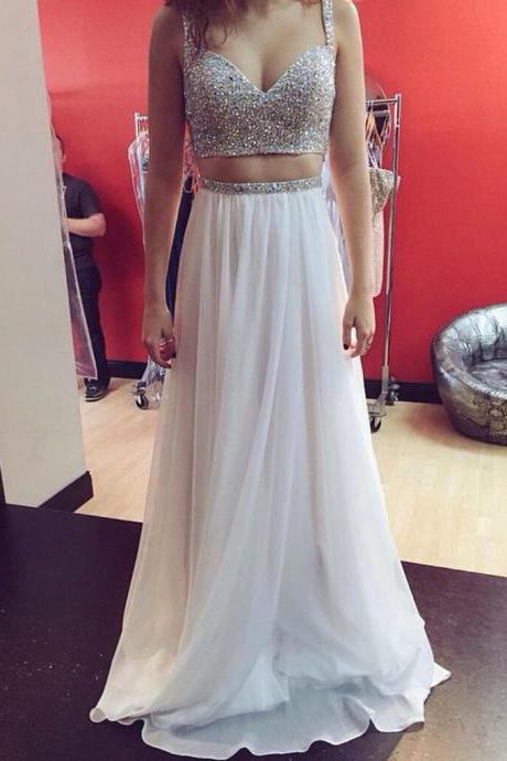 White A Line Two Pieces Sweetheart Neck Sequin Long Prom Dresses, Two Pieces White Evening Dresses, BW9705